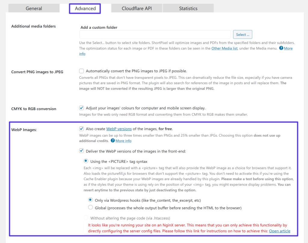 How to enable WordPress WebP images in ShortPixel