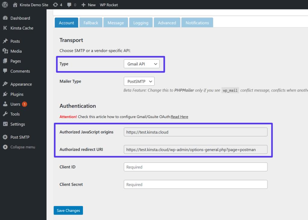 Free smtp server: Choose the Gmail API option