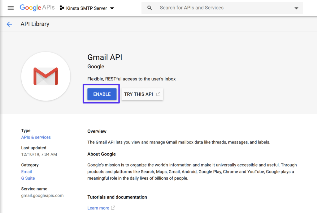 Enable the Gmail API