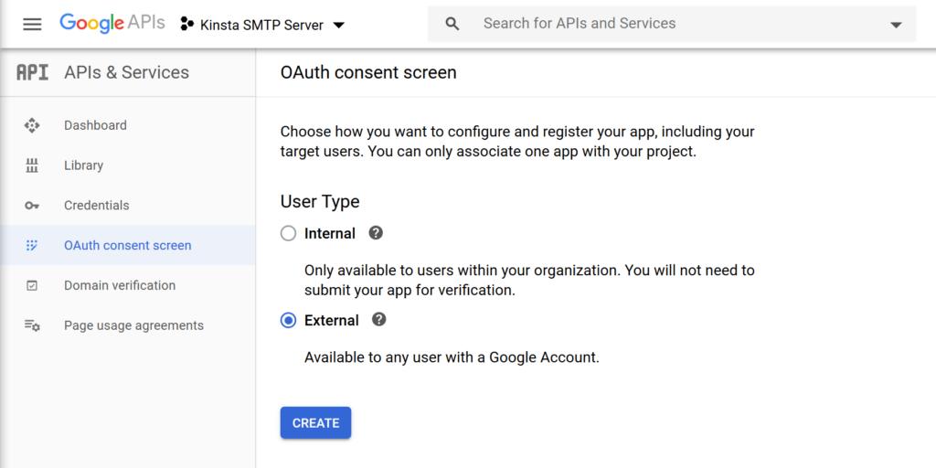 Create an external consent screen