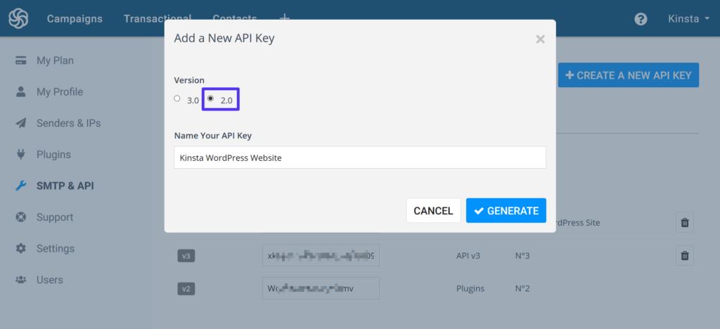 Create a Sendinblue API 2.0 key