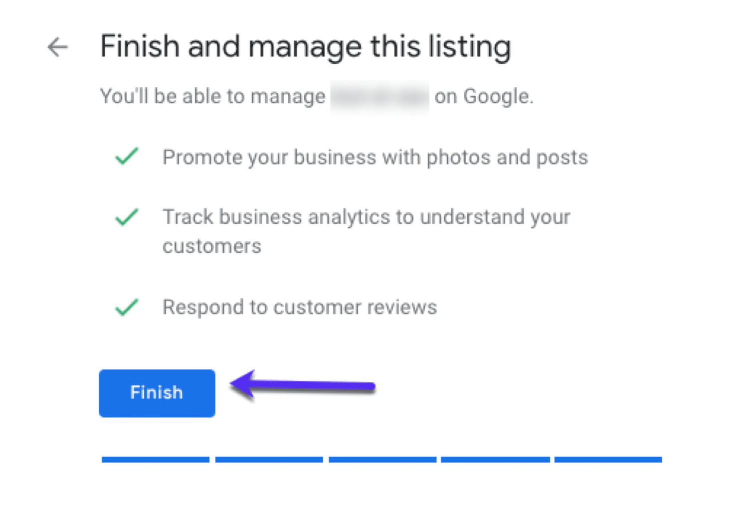Finish and manage your GMB listing