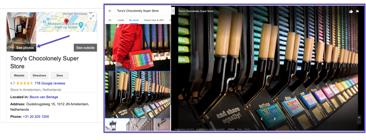 An example of photos uploaded to a Google My Business listing