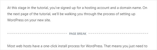 The page break block shown in the block editor