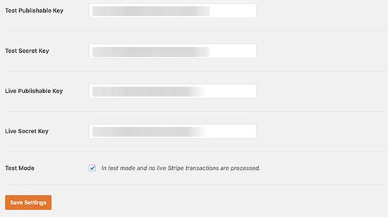 Stripe keys in WPForms