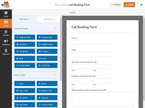 ایجاد فرم تماس در wpform