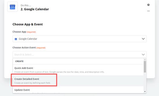 انتخاب Create detailed event به عنوان برنامه Action