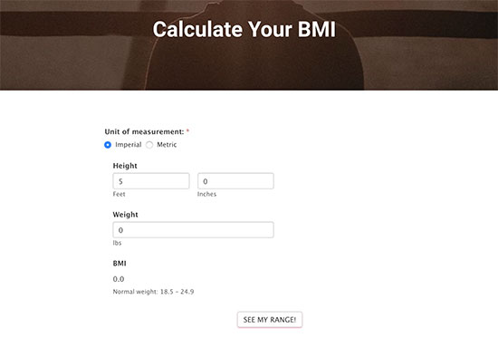 Preview of a BMI calculator form on a website