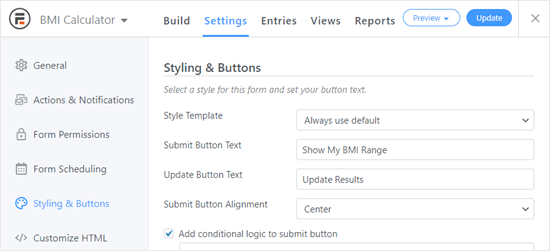 Changing the Submit and Update button messages in Formidable Forms