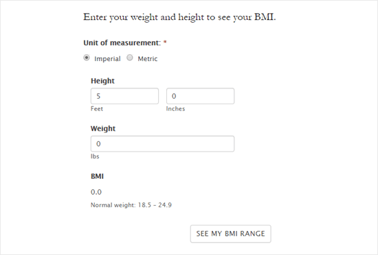 The default styling for the BMI form