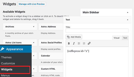 Adding the shortcode to a sidebar widget
