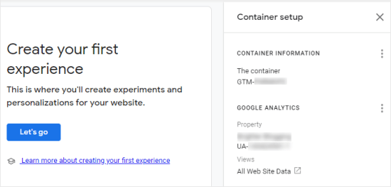 Finding your Google Optimize container ID