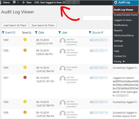 Audit log viewer