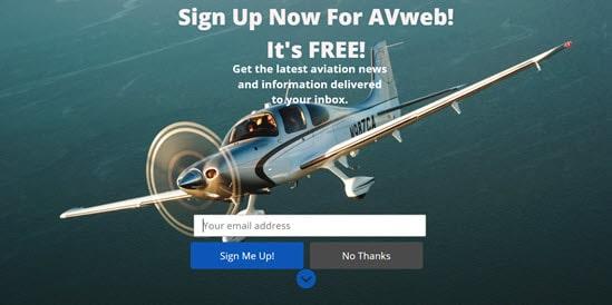 AVweb's welcome mat example