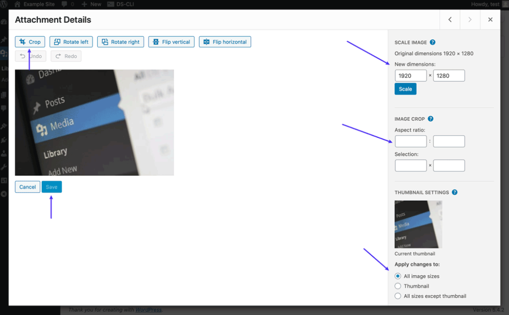 The image editing options in the attachment details.