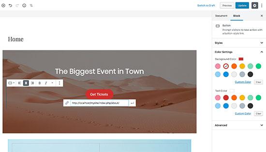 Editing your custom homepage layout using Gutenberg