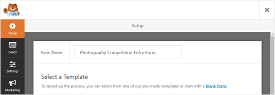 Giving your form a name in WPForms