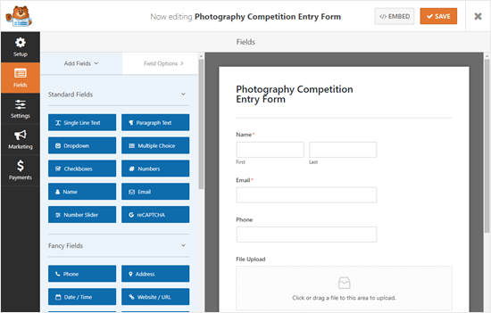 The default file upload form, created from the template