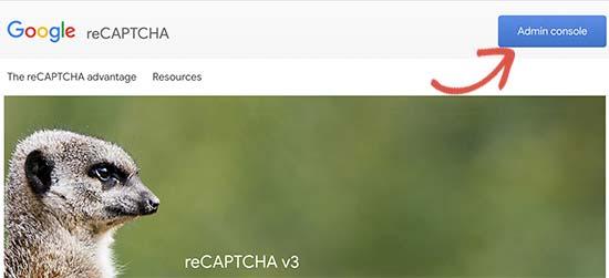 reCAPTCHA admin console