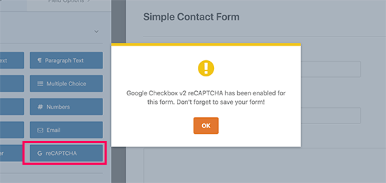 Adding recaptcha field to your form