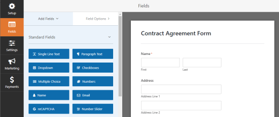 Adding new fields to the contract agreement form