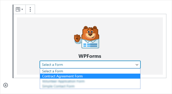 Select your contract agreement form from the drop down menu