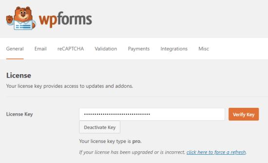 Entering your license key for WPForms