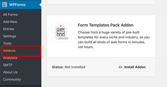 Install template pack addon