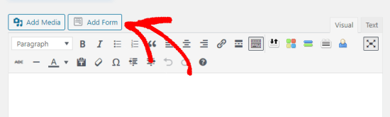 The Add Form button in a the WordPress page editor