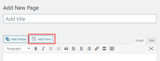 Adding a form to the page using the classic WordPress editor