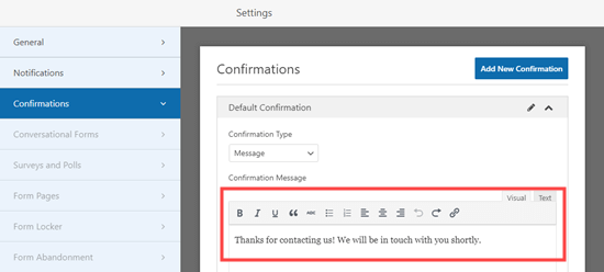 Editing the confirmation message for your RSVP form