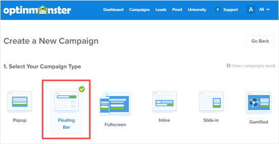 Pick the Floating Bar campaign type for your alert bar