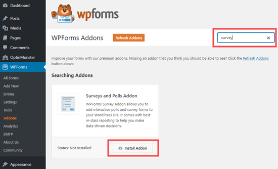 Installing the Survey and Polls addon for WPForms
