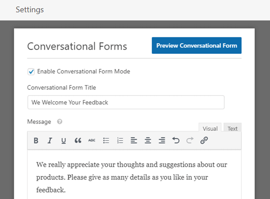 Entering a title and message for your conversational form