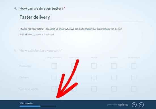 WPForms will show the user how far through the questionnaire they are, using the progress bar