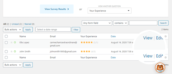 Viewing individual answers to the questionnaire