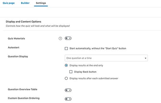 Quiz display settings