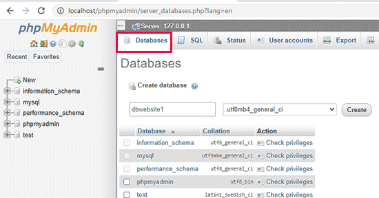 Creating a database for your local WordPress site