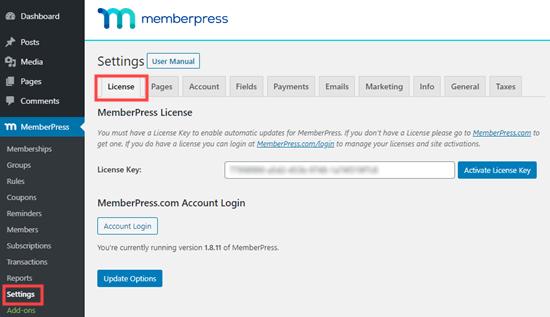 Enter your MemberPress license key