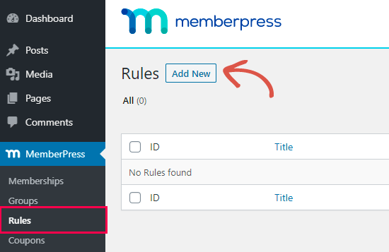 Creating a new rule