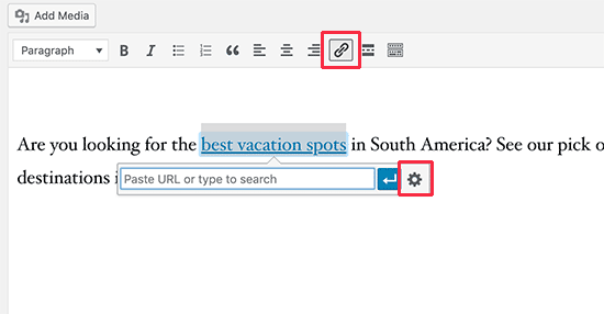 Add new link in classic editor