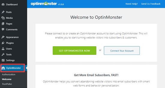 Connect your OptinMonster account to your WordPress site