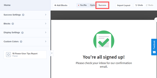 The 'Success' view that visitors will see after entering their email address