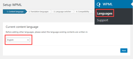 Selecting your content language