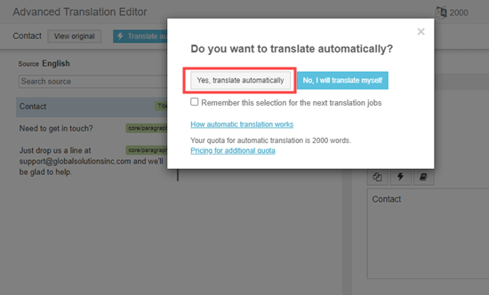 Click to automatically translate your content