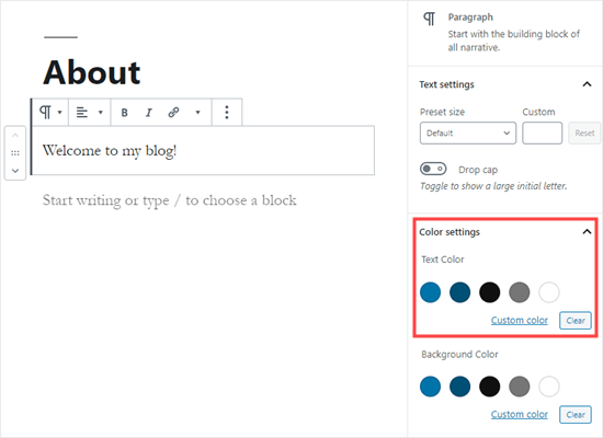 Picking a text color for the whole block in WordPress