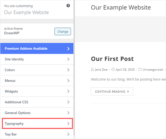 Select 'Typography' or a similar option in the theme customizer