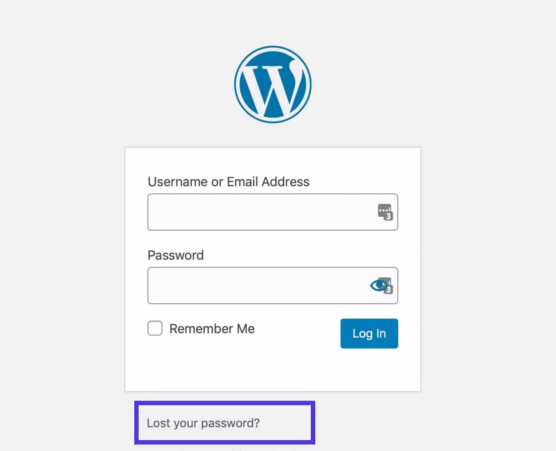 WordPress lost password link