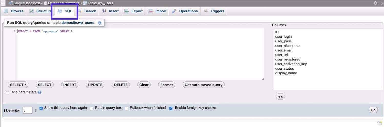 SQL tab in phpMyAdmin