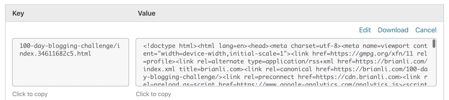 A web page stored as a key-value object in Cloudflare Workers KV.